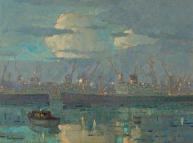 Nils Andersen; Cloudy Harbour Scene