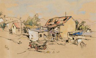 Gregoire Boonzaier; Old Wagon and Cottages, Oudtshoorn
