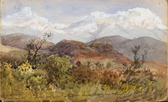Abraham De Smidt; A missionary station called Amaliënstein near Ladismith, Cape Colony, recto; Rocky Mountains with Pathway, verso