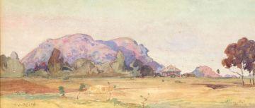Walter Battiss; Landscape with Koppie