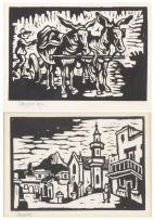 Gregoire Boonzaier; Donkey Cart; and Bo Kaap, two