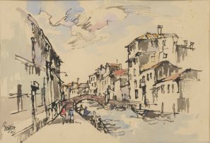 Gregoire Boonzaier; Canals with Bridges, Venice, recto; Sketch of a woman at work, verso