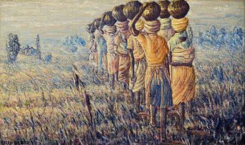 Mmakgabo Mmapula Helen Sebidi; Women Walking in a Field