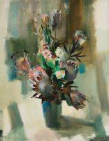 Clement Serneels; Proteas in a Vase