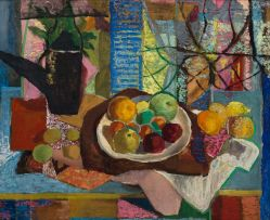 Maud Sumner; Still Life with Fruit on Blue Table