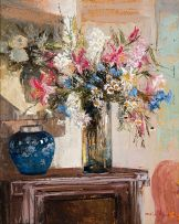 Marié Vermeulen-Breedt; Still Life with Blue Ginger Jar
