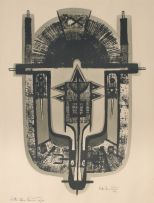 Bettie Cilliers-Barnard; Abstract Composition in Grey and Black