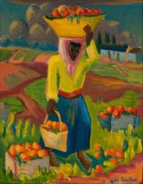 Maggie Laubser; Fruit Carrier in a Landscape