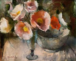 Irmin Henkel; Iceland Poppies in a Glass Vase with a Bowl