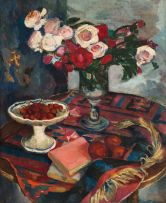 Maud Sumner; Still Life with Roses and Cherries