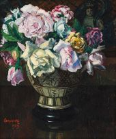Gregoire Boonzaier; Roses in a Bowl