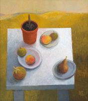 Susan Helm Davies; Plate of Fruit on White Table