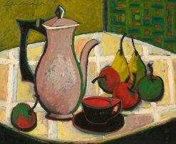 Erik Laubscher; Still Life with Coffee Pot and Fruit