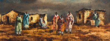 Otto Klar; Ndebele Women and Farm Buildings
