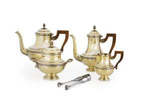 A French four-piece silver-gilt tea and coffee set, Paris, post 1838, .950 standard