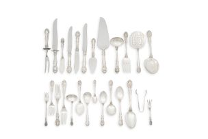An assembled part set of American 'King Edward' pattern silver flatware, Gorham, 1875-1936