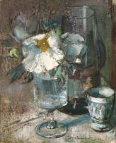 Irmin Henkel; Still Life with Iceland Poppies in a Glass Vase