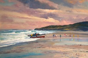 Christopher Tugwell; A Fishing Boat on the Beach
