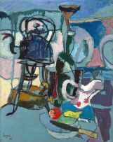Gregoire Boonzaier; Abstract with Kettle, Jug and Fruit