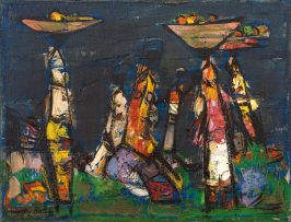 Walter Battiss; Figures Carrying Baskets of Fruit