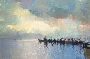 Errol Boyley; Fishing Boats in a Harbour