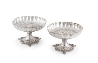 A pair of Victorian silver comports, Fenton Brothers, Sheffield, 1875
