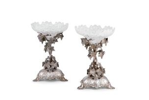A pair of Victorian silver and glass comports, Thomas Bradbury & Sons Ltd, Sheffield, 1861-1864