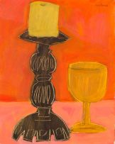 Nico Verboom; Still Life with Candle and Wine Glass