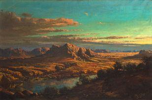 Tinus de Jongh; Landscape at Sunset