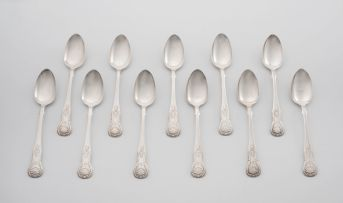A set of eleven Scottish silver 'Kings pattern' teaspoons, James Wright, Edinburgh, 1861