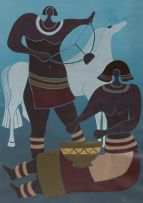 Lucky Sibiya; Two Musicians and Horse 31/85