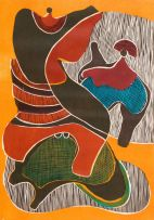 Lucky Sibiya; Two Figures, Blue, Green, Red and Orange