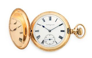 14ct gold hunting cased keyless lever watch, Elgin Watch Co, No. 5038480