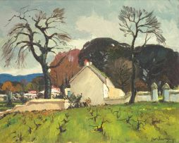 Piet van Heerden; Farmhouse with Vineyards
