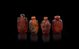 Four Chinese amber snuff bottles, early 20th century