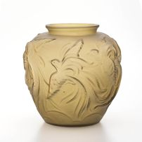 A frosted yellow glass lamp base, 20th century