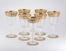 Seven Saint Louis 'Thistle Pattern' gold-encrusted red wine glasses