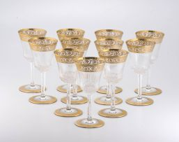 Eleven Saint Louis 'Thistle Pattern' gold-encrusted white wine glasses