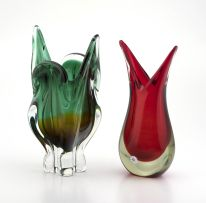 A Seguso red and clear sommerso glass vase, Murano, 1960s