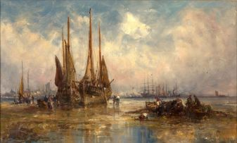 Attributed to William Edward Webb; Boats at Low Tide