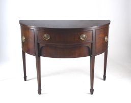 A George III style mahogany demi-lune sideboard, 19th century