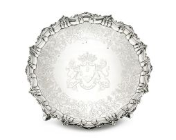 An Irish silver tray, Robert Calderwood, Dublin, 1747