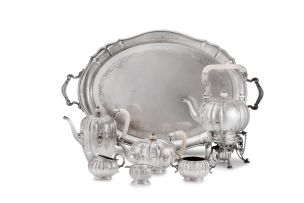 A George VI seven-piece silver and ivory tea service, Mappin & Webb, Sheffield, 1945-1948