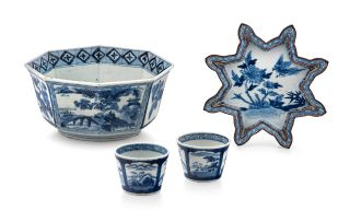 A Japanese blue and white bowl, early 20th century