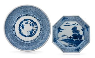 A Japanese blue and white dish, early 20th century