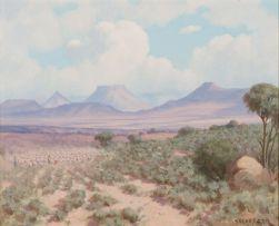 Willem Hermanus Coetzer; Landscape with Herd of Sheep