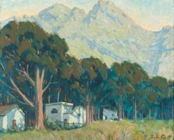 Sydney Carter; House and Trees in a Landscape