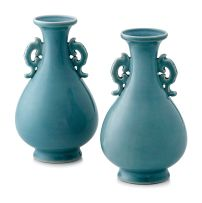 A pair of Chinese blue-glazed monochrome vases