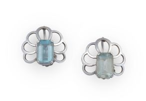 Pair of aquamarine and 9ct white gold earrings