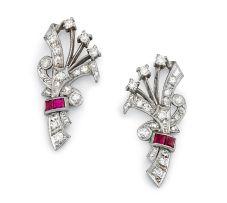 Pair of ruby and diamond earrings/brooch